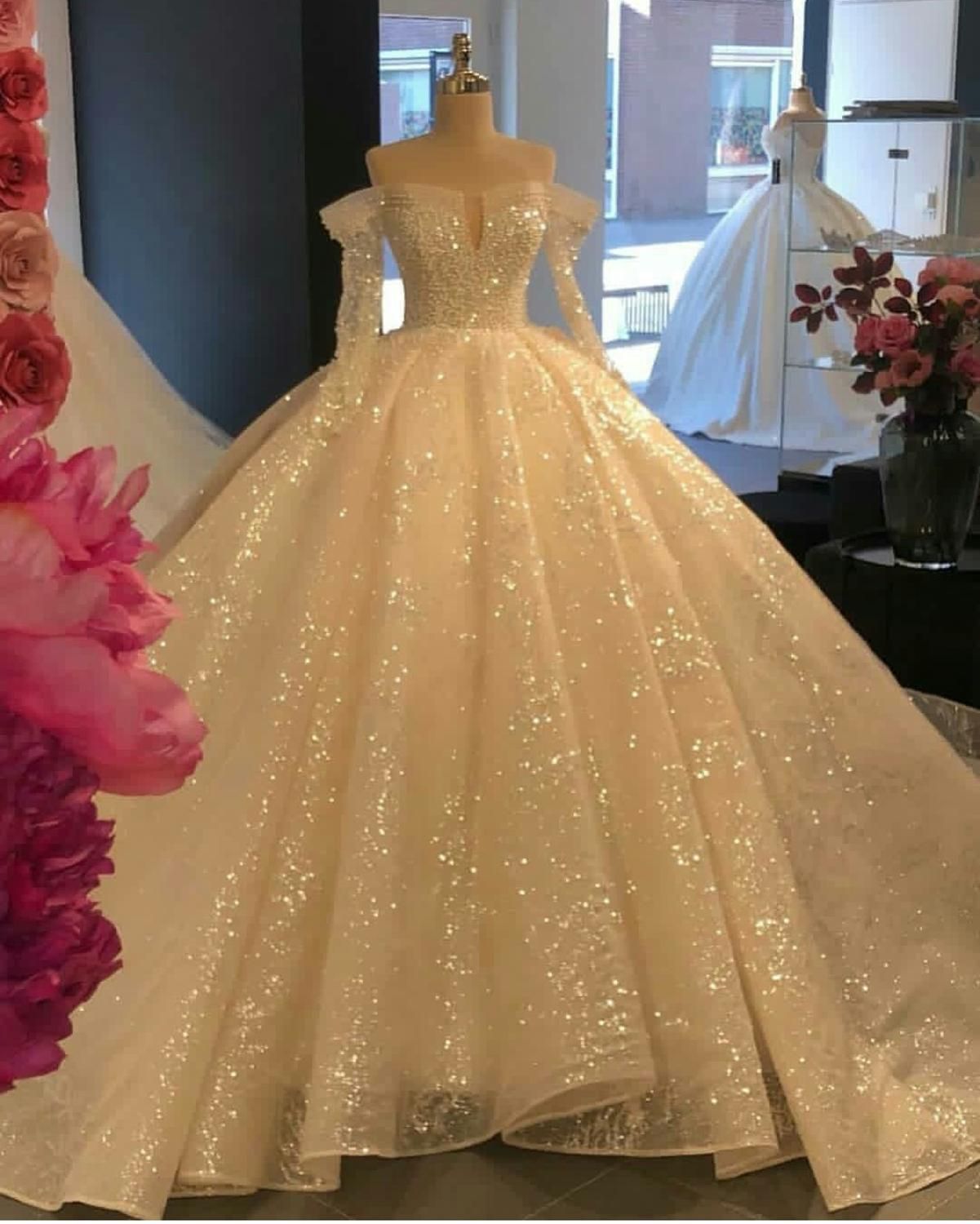 2020 Luxury Sparkly Wedding Dresses Off Shoulder Long Sleeve Princess Ball Gown Bridal Gowns Bling Bling Puffy Robes De Mariee Wedding Dresses Aliexpress
