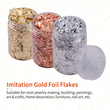 10g Imitation Gold Foil Flakes Metallic Foil Flakes for Resin Jewelry Making Nails Art Painting DIY Crafts Home Decoration