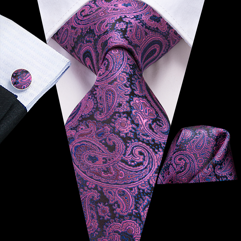Hi-Tie 100% Silk Luxury Brand Designer Paisley Ties for Men Black Gold Neck Tie Pocket Squre Cufflinks Set Mens