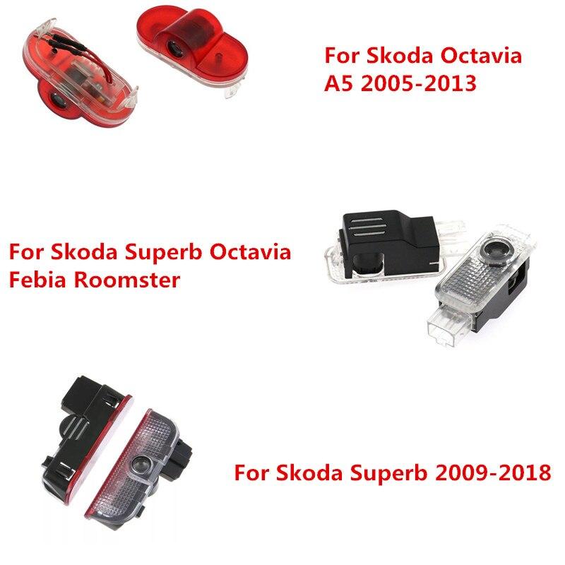 Автомобильный светодиодный Дверь Добро пожаловать Светильник проектор логотип лазерный проектор Ghost Shadow светильник s для Skoda Octavia A5 Skoda Superb ...
