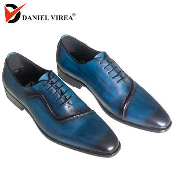 Men Genuine Leather Dress Shoes Italian Design Blue Color Hand-polished Pointed Toe Wedding Shoes - DISCOUNT ITEM  59% OFF All Category