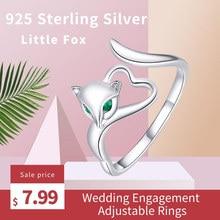 WOSTU, настоящее 925 пробы, серебряное кольцо в виде лисы, животное, для женщин, для свадьбы, помолвки, регулируемые кольца, модное ювелирное изделие, FNR090