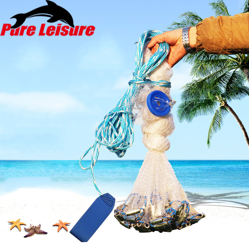 PureLeisure Catch Fishing Net Monofilament 240/300/360cm Cast Nets Water Hand Throw Fly Network Gill with Sinker