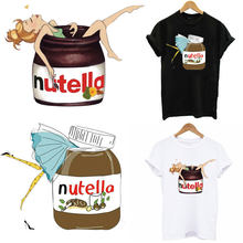 Nutella Foods Inbetweening Patches Iron-on Transfer For Clothes DIY Washable Women T-shirt Dress Patch Sticker On Clothes Decor(China)