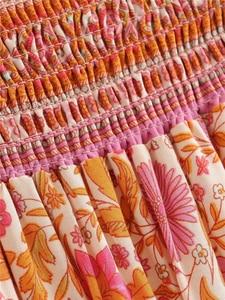 Image 4 - Винтажная шикарная Женская Хиппи с цветочным принтом, Пляжная богемная плиссированная юбка с высокой эластичной талией и оборками, макси трапециевидная Бохо Юбка Femme