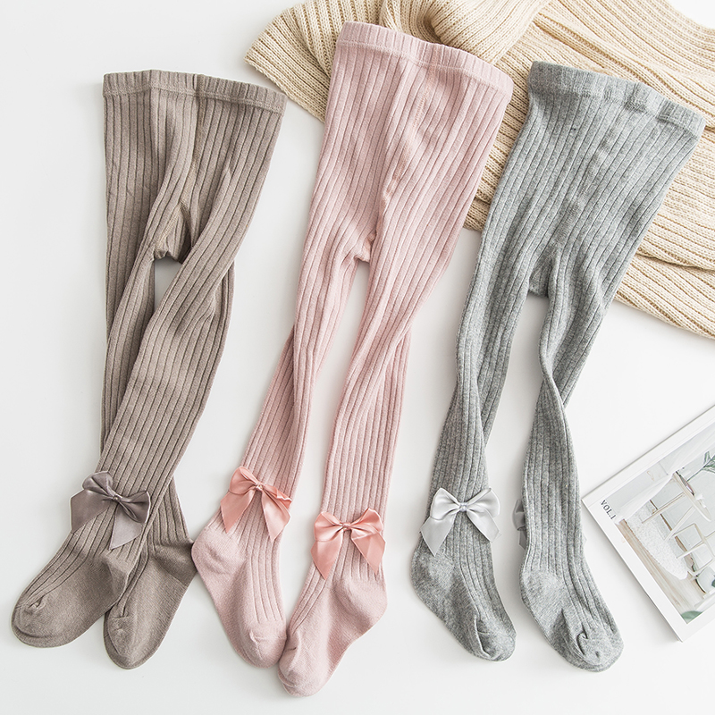 Cotton Girls Tights Princess Bowknet Baby Girl's One-Piece Pantyhose Baby Spring and Autumn New Style Trousers Lace Stocking 2