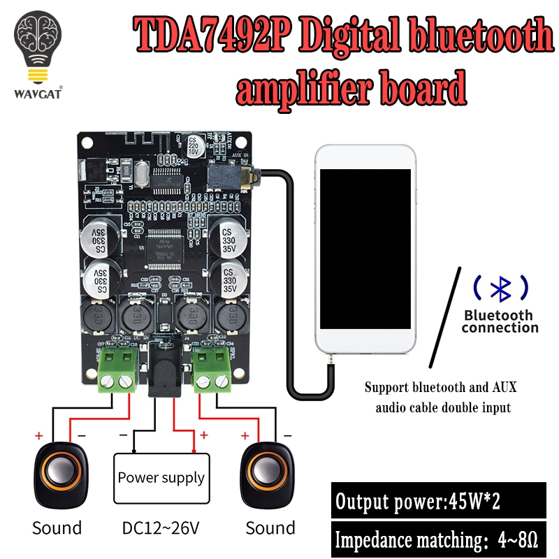 VHM-307 TDA7492P Bluetooth 4.0 Receiver Amplifier Audio Board 50W*2 Speakers Modified Music Mini Amplifiers Diy Dual Channel