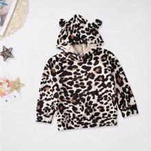 Emmababy хлопковый пуловер с леопардовым принтом для маленьких мальчиков, блузка, одежда с капюшоном, 1-6 месяцев