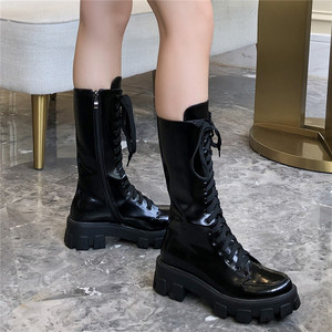 Image 4 - FEDONAS 2020 Popular Women Solid Genuine Leather Mid Calf Boots Fashion Ladies Motorcycle Boots Party Shoes Woman Platform Boots