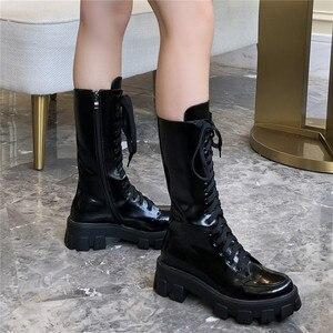 Image 4 - Женские ботинки до середины икры FEDONAS, черные однотонные мотоботы из натуральной кожи, обувь на платформе для вечеринки на осень 2020