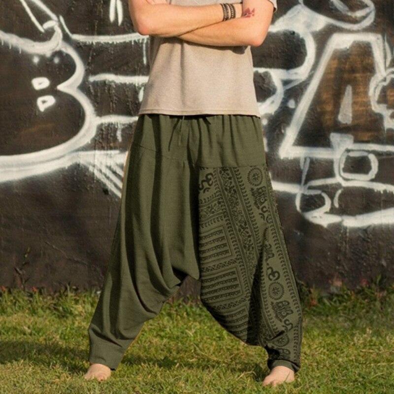 Men Fashion Print Loose Cross-pants  2019 New Men Hip-hop Pants Casual Ethnic Style Plus Size Sports Trousers Jogger Harem Pants