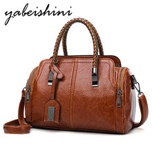 New women handbags for women 2019 sac a main femme Female leather shoulder bag Leisure Oil wax Boston bag crossbody bags for ladies hand bag new 2016 embossed leather boston women handbag fashion casual women bag ladies bag simple shoulder pillow bag bolsos sac a main