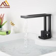 Preto fosco elegante bacia torneira do banheiro quadrado escova de ouro bacia toque mixer único punho cachoeira bacia torneira da bacia