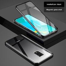 Çift taraflı manyetik 360 korumak kılıf xiaomi Redmi için not 9 9s 9 pro max temperli cam Metal kapak için Redmi Note9 pro coque