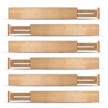 Регулируемые расширяемые разделители бамбуковые разделители ящиков органайзеры ящиков натуральный бамбук лучший для кухни, комода, спальни, ванной