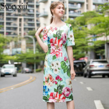 Svoryxiu Fashion Runway Summer Dress Women's Short Sleeve Charming Big Flower Pr