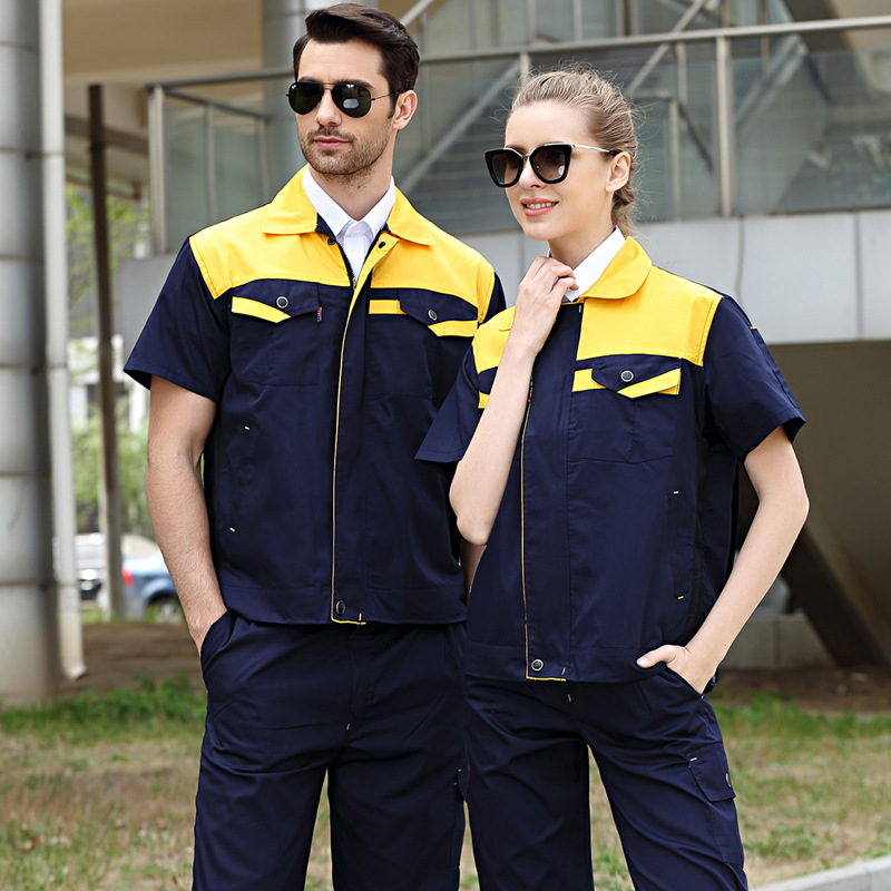 Summer Workwear Working Clothes Set Male/female Factory Uniform Workshop Auto Repair Short-sleeved Coveralls Suit Contrast Color