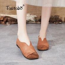 Tacestable 2019 zapato plano de cuero genuino Vintage estilo elegante cómodo zapato de conducción S90371 marrón amarillo marrón hecho a mano 35-40