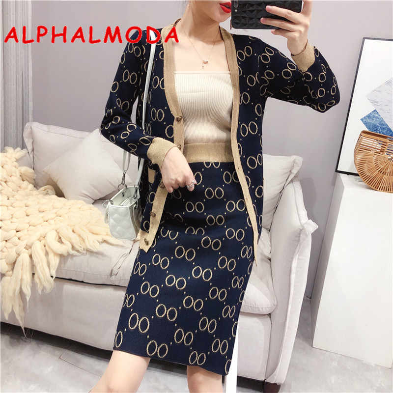 ALPHALMODA 2019 Autumn Winter Elegant Women Knitting Jacket + Skirt Suits V-neck Geometric Pattern OL Fashion Knit Outfit