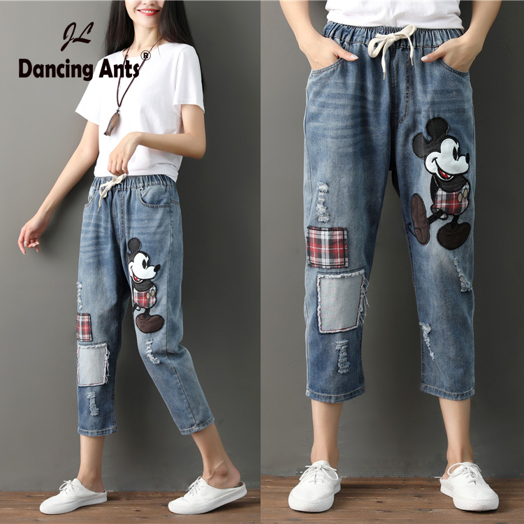 Mum Jeans Women Boyfriend Jeans For Woman Mom Jeans Harem Cartoon Pants Denim Jeans Mujer Jean Femme Women Jeans