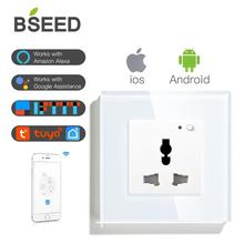 BSEED Wifi Multifunction Socket Wall Smart Outlet Black White Gloden Crystal Panel 13A Power For House