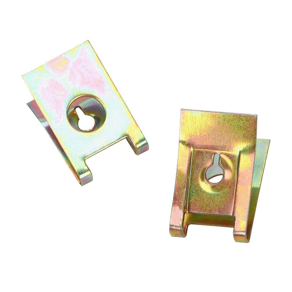 Écrous de fer LEEPEE 50pcs pince métallique à ressort ton Bronze Clips de fixation automatique panneau de porte de voiture style voiture vis de flèche Clips de Type BaseU