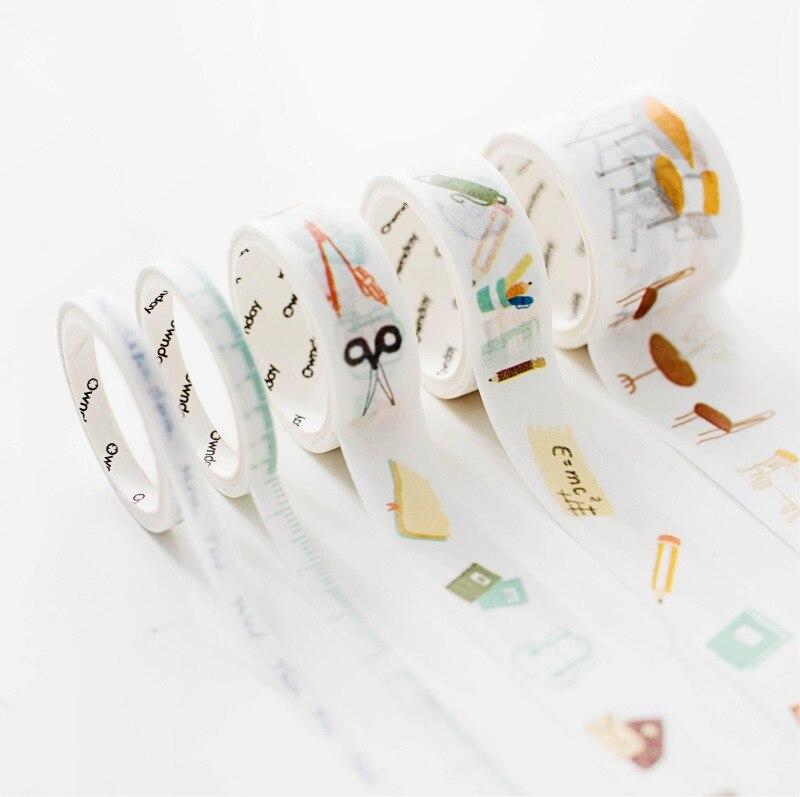 5 Pcs/pack Go To School Together Bullet Journal Washi Tape Set Adhesive Tape DIY Scrapbooking Sticker Label Masking