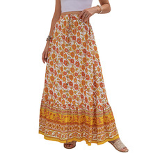 Women Clothing Casual Boho Print Lace Up Maxi Skirts Summer Fashion Empire Loose Long Skirt Green Slit Beach Skirts Womens 2021