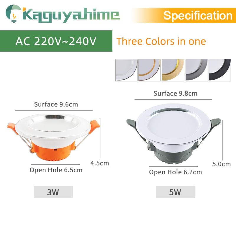 =(K)= LED Downlight Natural White/Warm/Cold 5w 3w LED Spot Light Indoor Recessed Lamp AC 220V LED Spotlight Round Panel Lamp 3