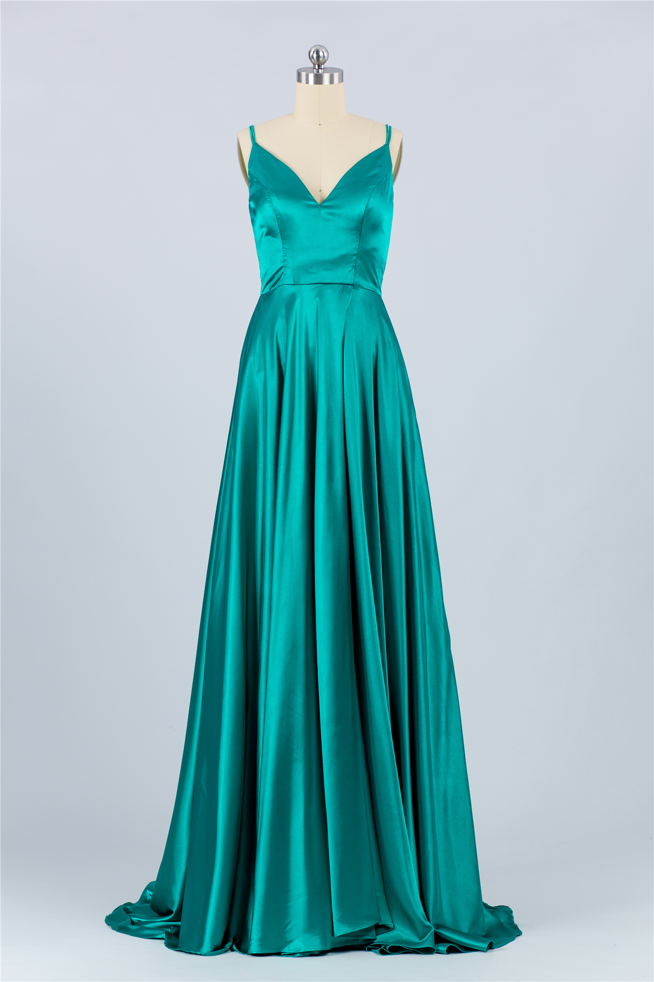 Silk like green fabric nice Evening Dress 2020 Pleated V-neck elegant luckgirls Customizable prom Dress mocini tailor