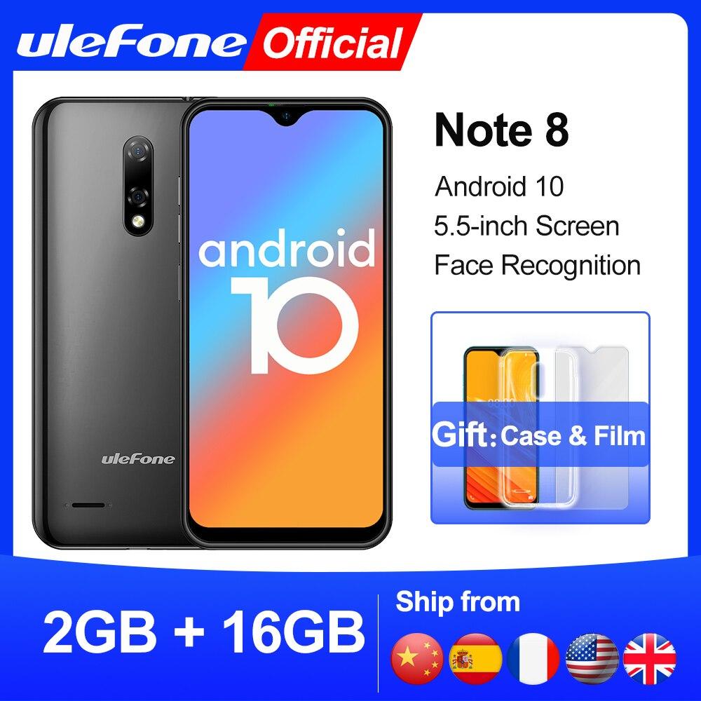 Чехол-накладка Ulefone Note 8 смартфон Android 10 в виде капли воды, Экран 4 ядра 2 ГБ + 16 Гб 5,5 дюйма с функцией распознавания лиц 5MP Камера