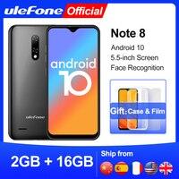 Ulefone-Smartphone Note 8, Android 10, pantalla gota de agua, Quad Core, 2GB + 16GB, pantalla de 5,5 pulgadas, reconocimiento facial, cámara de 5MP