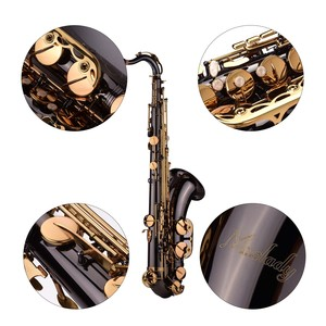 Image 3 - Muslady Bb Tenor Saxophone Sax Brass Body Black Nickle Plated Golden Keys Woodwind Instrument with Carry Case Gloves