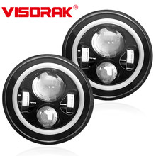 VISORAK 2 pièces Hi/Lo faisceau ange yeux 7 pouces Offroad H4 phare LED 4WD 4x4 SUV moto LED lampe frontale pour camion Harley ATV
