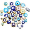 Оптовая продажа партиями по 6 мм 8 мм 10 мм 12 мм синий круглый в форме сердца плоские наборные бусины magic eye полосатые бусины металлические для ...