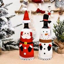Apron Velvet Wine-Bottle-Cover Christmas-Decorations with Cap Home Bag