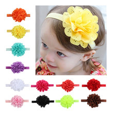 Girl Head Band Baby Lace Flower Headband Infant Solid Elastic Headband Toddler Hair Accessory Headwear Newborn Photography Props(China)