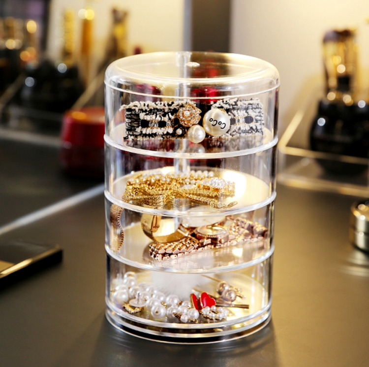 360�Rotating Transparent Cosmetic Storage Box Jewelry Box Multi-Layer Makeup Box