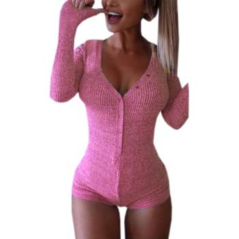 Autumn Knitted Body Rompers Womens Jumpsuit 2019 Sexy Lady V Neck Long Sleeve Bodycon Bodysuit Slim Short Cotton Buttons ZX046 1