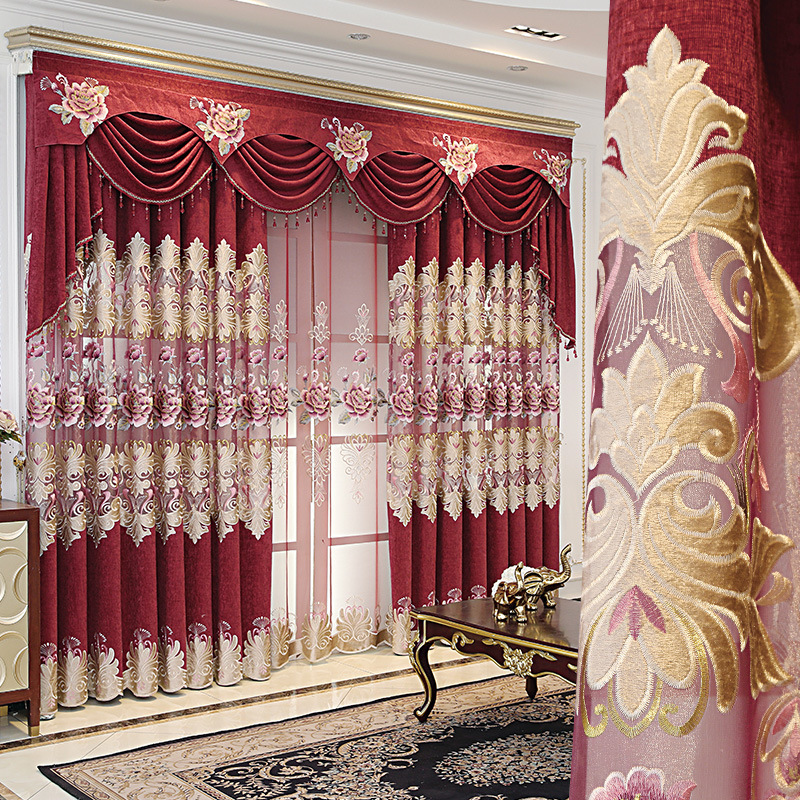 European-style Chenille Hollow Embroidered Blackout Screens Customized Curtain Products Curtains for Living Dining Room Bedroom