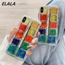 ELALA Glossy Phone Case For iPhone 7 8 Paint Box Color Pattern Glitter Marble Cover iphone XR X XS Max 6 S 8Plus