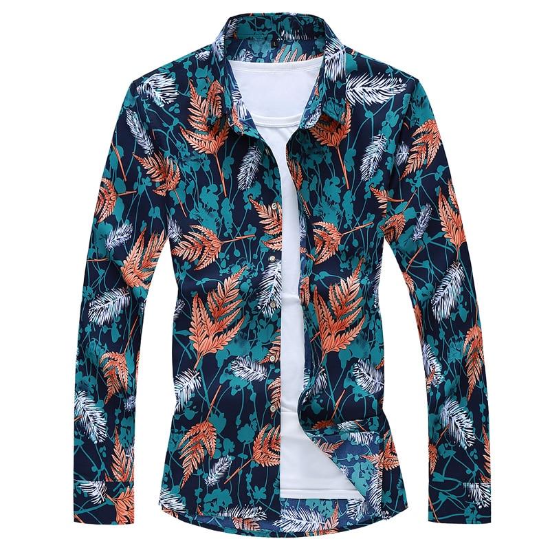 2021 Autumn Spring Clothes Shirt Men'S  Long Sleeves OverSize M-5XL 6XL 7XL Hawaiian Beach Casual Floral Shirt For Man