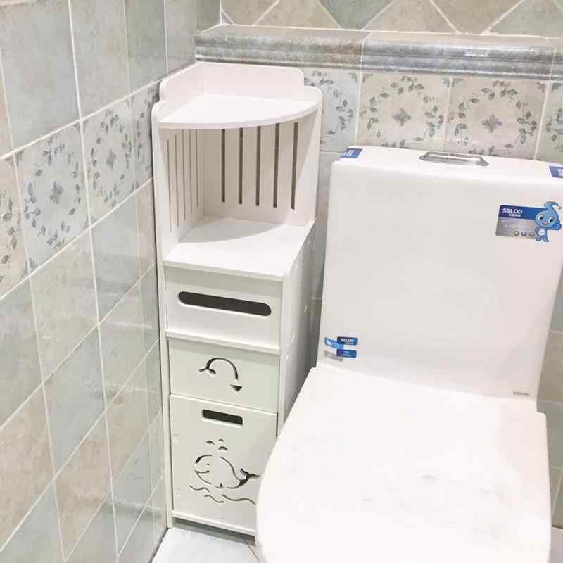 욕실 캐비닛 플로어 스탠딩 스토리지 선반 랙 화장실 홈 가구 캐비닛 PVC 플라스틱 보드 잡화 스토리지 랙