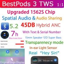 45DB Hybrid Anc Bestpods 3 Tws Bluetooth 5.2 Oortelefoon Draadloze Oordopjes Super Bass 1:1 Serienummer Audio Delen Ruimtelijke Audio