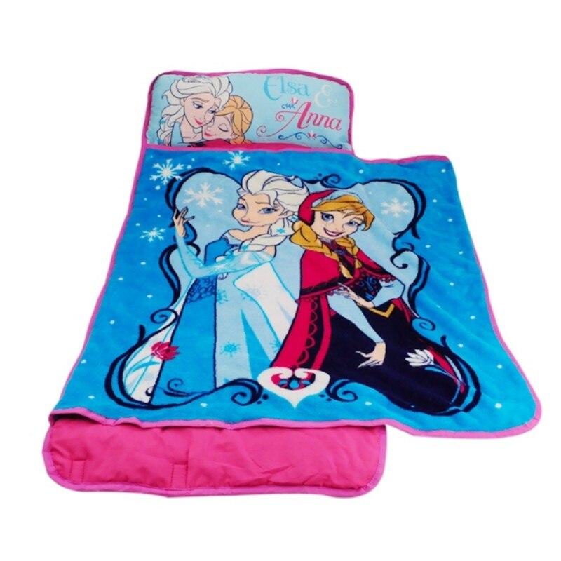 Disney Cute Cartoon Frozen Elsa Anna Toddler Rolled Nap Mat Pillow All-in-one Blanket Travel Sweet For Baby Girls Gift