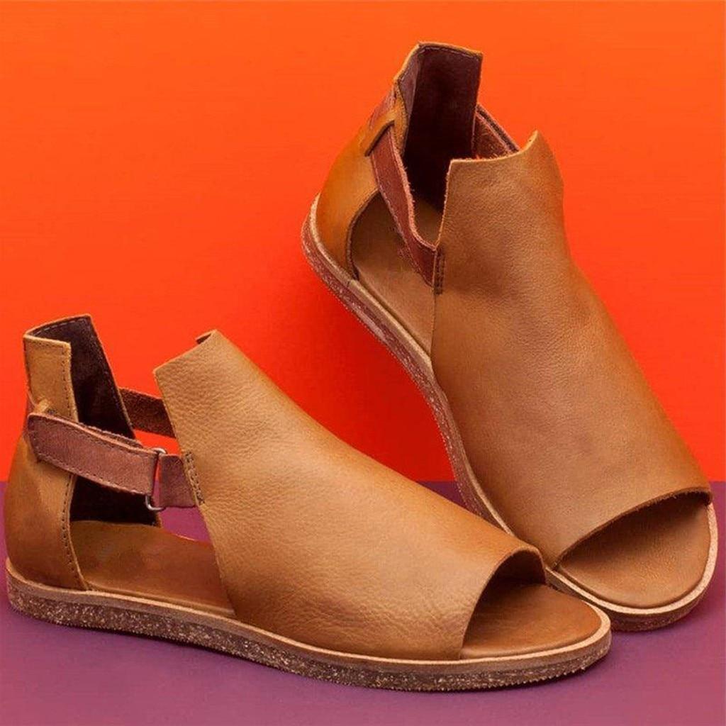 Women's Retro PU Sandals Ladies plus size Summer Vintage Flat Peep Toe Casual Shoes Girls Comfortable indoor outdoor Slippers