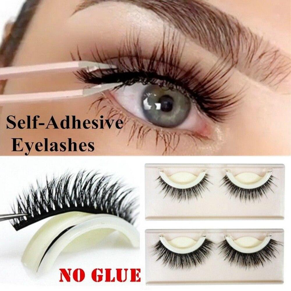 2019 New Fashion Women Natural Self Adhesive 3D False Eyelashes Extension Reusable Natural Curly Eye Lashes Drop Shipping
