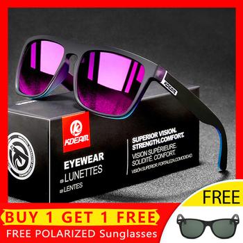 Kwadratowe spolaryzowane okulary mężczyźni marka projektant Outdoor Running okulary jazdy Night-Vision okulary męskie 100 UV400 obiektyw tanie i dobre opinie KDEAM Gogle Dla dorosłych Z tworzywa sztucznego Lustro Fotochromowe 44MM 55MM