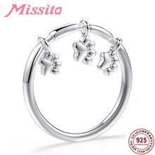 MISSITA 100% 2019 New Fashion Cute Puppy Paw Footprint Rings for Women Silver Jewelry Brand Crystal Ring Anniversary Gift(China)