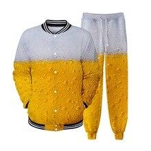 PUIMENTIUA 2019 New Men Beer Festival Coat Casual Strange Things 3D Printing Stand Collar Baseball Jacket+Pants Full Length Set